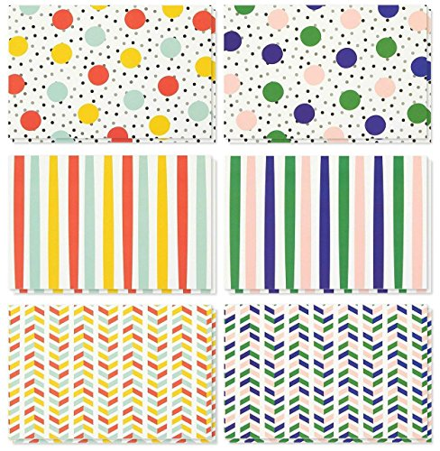 (36 Pack All Occasion Assorted Blank Note Cards Greeting Cards Bulk Box Set - 6 Colorful Polka Dot and Stripe Designs - Blank on the Inside Notecards with Envelopes Included - 4 x 6 Inches)