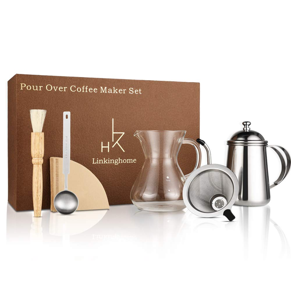 Pour Over Coffee Dripper- LinkingHome Coffee Maker Set With Coffee Kettle, Glass Carafe, Stainless Steel Filter Dripper, 50 Coffee Filter Paper, Cleaning Brush And Coffee Scoop by LinkingHome