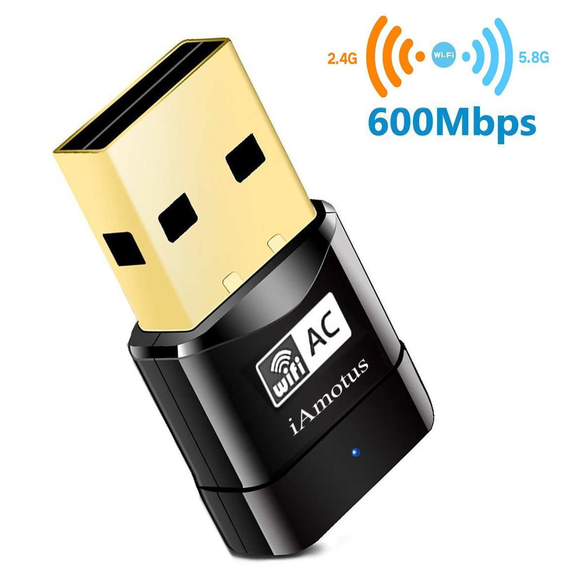iAmotus USB WiFi Adaptateur [Garantie à 2 ans] AC600 Mbps Mini Double Bande Wireless WIFI (5GHz 433Mbps/2.4GHz 150Mbps) Sans fil Dongles Wlan Stick pour PC Windows XP/ Vista/ 7/ 8/ 10 Linux Mac OS 5B06