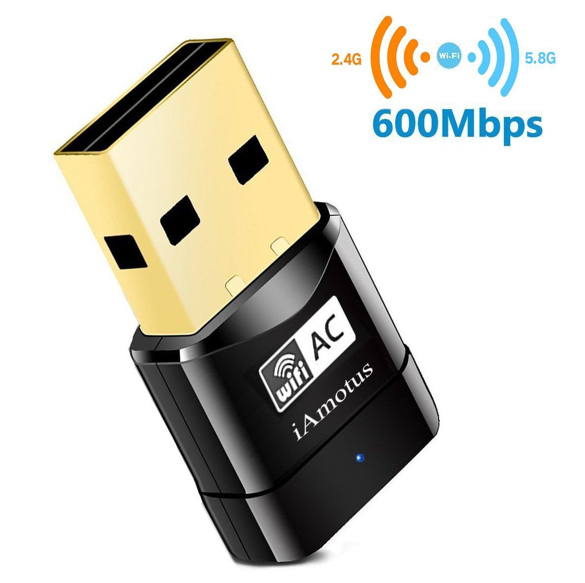 iAmotus USB WiFi Adaptateur [Garantie à 2 ans] AC600 Mbps Mini Double Bande Wireless WIFI (5GHz 433Mbps/2.4GHz 150Mbps) Sans fil Dongles Wlan Stick pour PC Windows XP/ Vista/ 7/ 8/ 10 Linux Mac OS 5B06