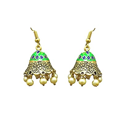 Buy Indian Mores Small Colorful Bronze Jhumki With Hanging Pearls