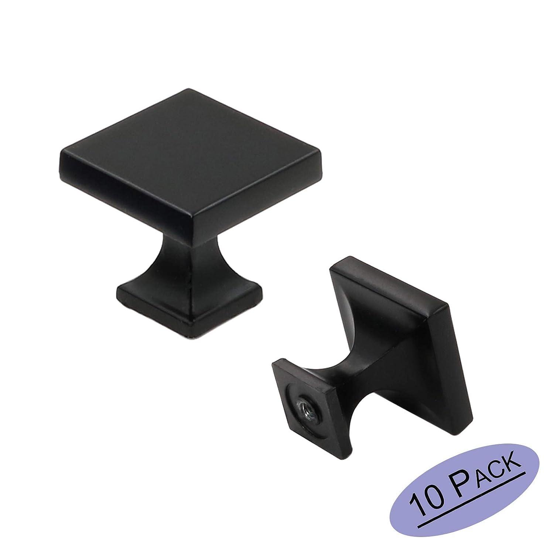 10 Pack goldenwarm Black Square Cabinet Knobs Kitchen Door Knobs - LS6785BK Flat Black Cabnet Hardware 1.1 inch Width Square Knobs for Kitchen Cabinets