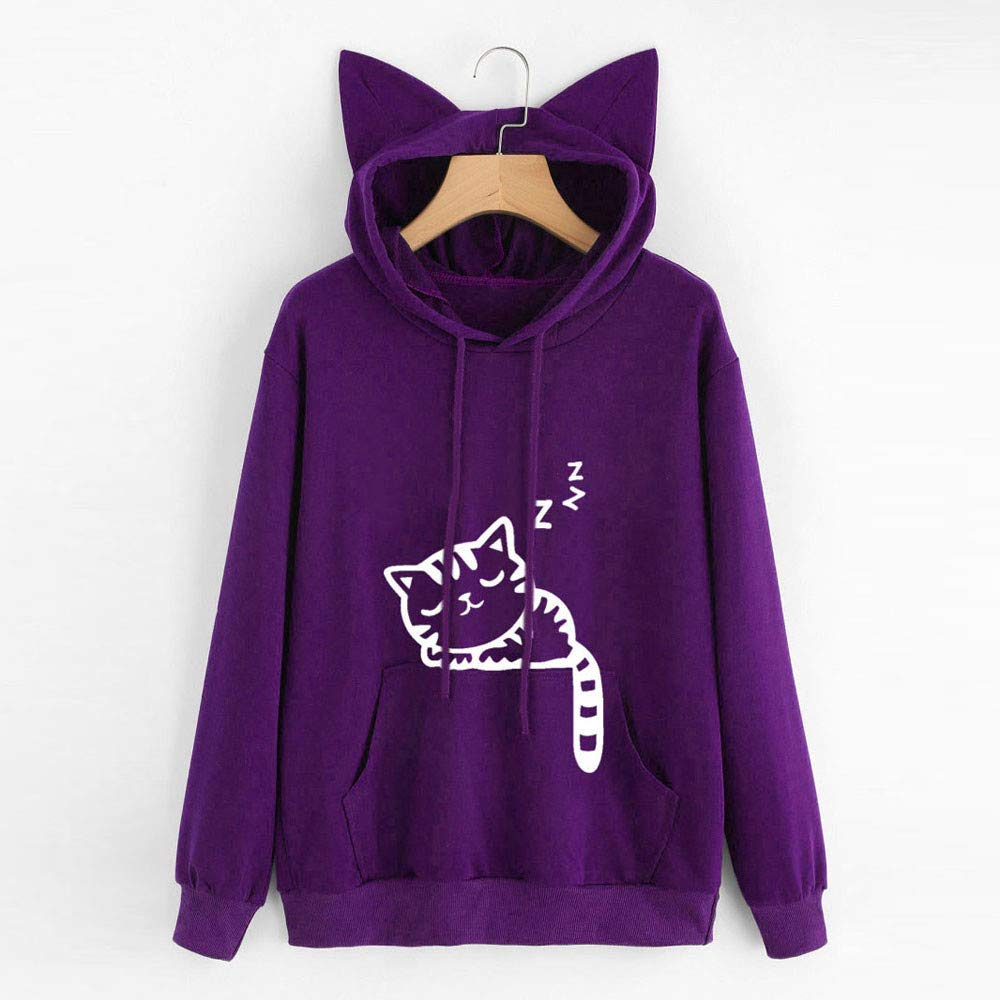 Amazon.com: Teresamoon Womens Cat Long Sleeve Hoodie Sweatshirt Hooded Pullover Tops Blouse: Home & Kitchen