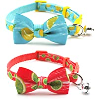 azuza Cat Collar with Bowtie, Safety Breakaway Cat Collar with Bell, Lemon/Lime Pattern, 2 Pack