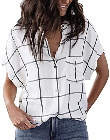 Guobin Camisas Mujer Cuadros, Camisetas Mujer Verano 2019 Manga Corta Escote V Escotadas Estampadas Sexy Elegante Casual Camisas Mujer: Amazon.es: Ropa y accesorios