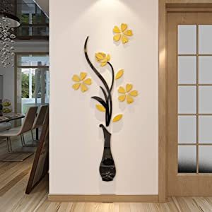 3d Vase Wall Murals for Living Room Bedroom Sofa Backdrop Tv Wall Background, Originality Stickers Gift, DIY Wall Decal Wall Decor Wall Decorations (Yellow, 59 X 23 inches)