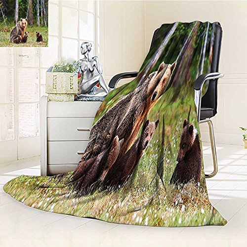 Mother Grizzly Bear - YOYI-HOME Digital Printing Duplex Printed Blanket Nature Wild Mother Grizzly Bear Protecting Her Babies in Forest Jungle Print Green Brown Summer Quilt Comforter /W47 x H59