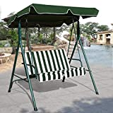 TANGKULA 2 Person Canopy Swing Weather Resistant Glider Hammock Porch Garden Backyard Lawn Cushioned Steel Frame Loveseat Swing Chair Bench Seat Patio Furniture(Green)