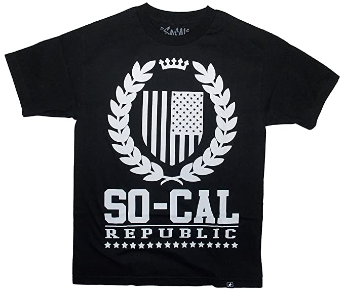 So Cal Clothing >> Amazon Com So Cal Clothing Men S Rebcad Flag Sheild T Shirt Tee
