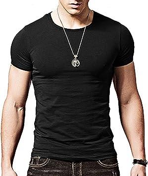 Camiseta negra ajustada de manga cortada con cuello redondo para hombre, de Butterme hombre Modal negro negro large: Amazon.es: Electrónica