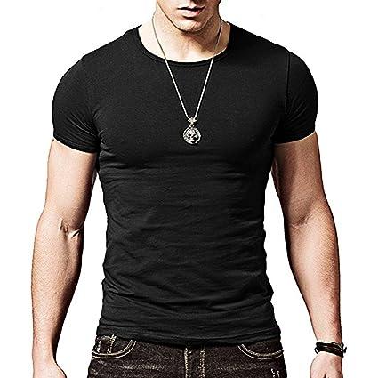 9b37f3891ef82 ZUMUii Camiseta Negra Ajustada de Manga Cortada con Cuello Redondo para  Hombre