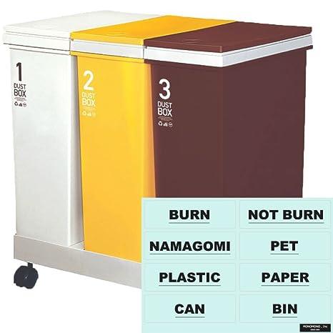 e9877081d1 Amazon 【暮らしの工夫】 ゴミ箱 + 分別シール(透明)資源ゴミ横型3 ...