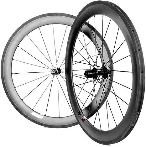 BIKEWISH - Ruedas de Fibra de Carbono para Bicicleta de Carretera ...