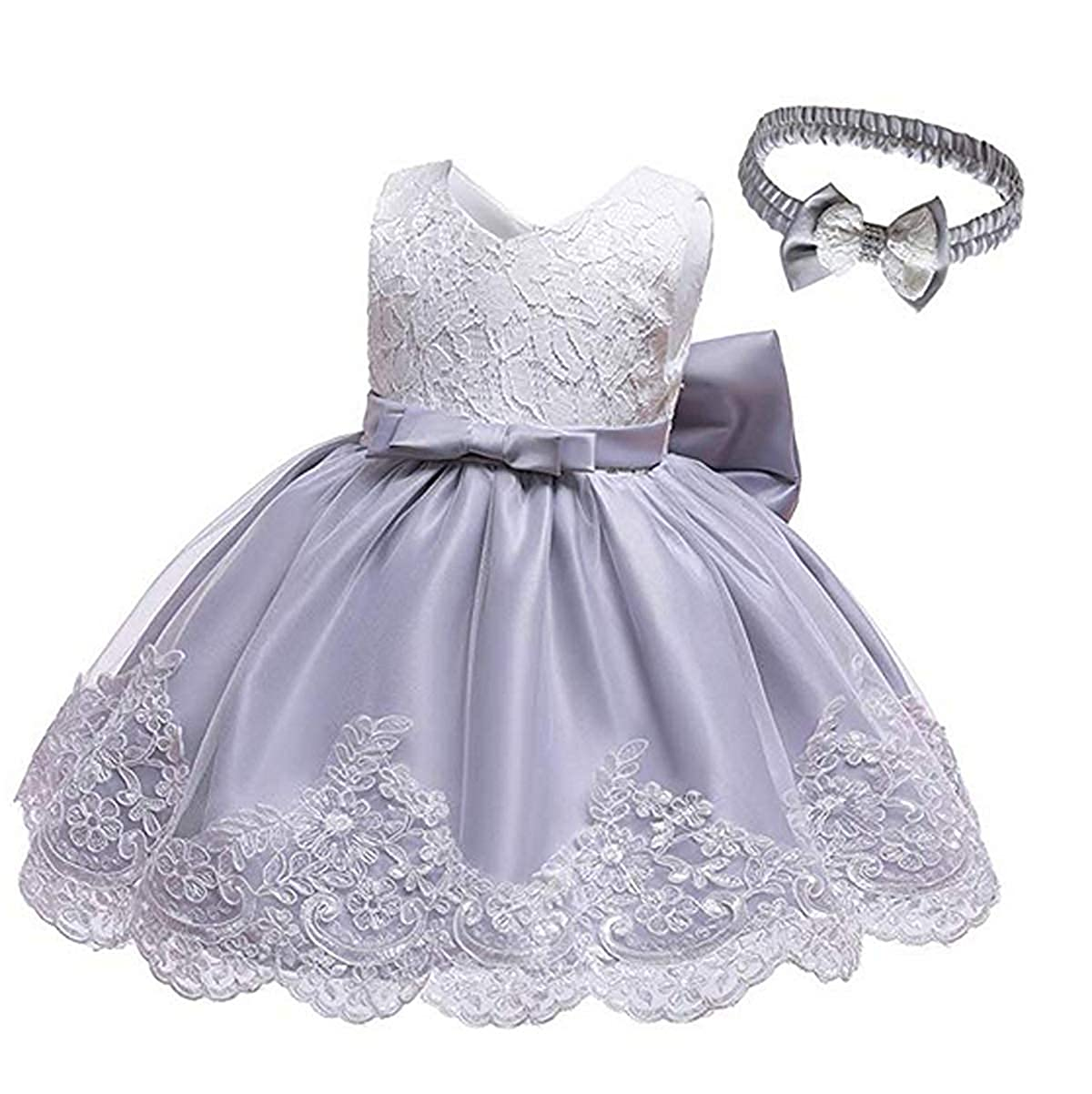 MysterLuna Baby Girls Formal Pageant Dress Sleeveless Lace Bowknot Princess Tutu Gown