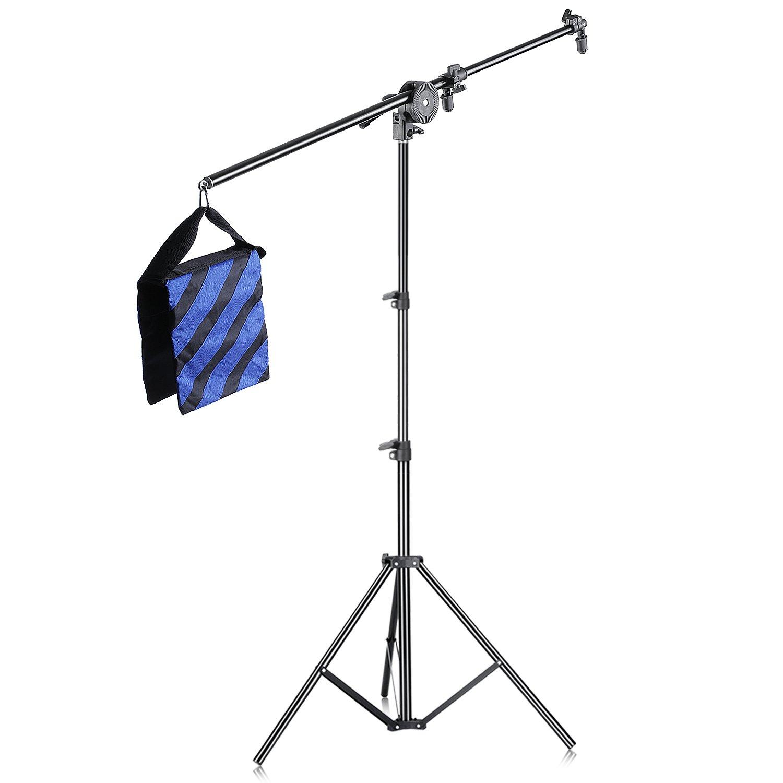Neewer® Photo Studio Lighting Reflector Arm Stand Kit: (1)26'-75'/66-190cm Light Stand+ (1)30'-70'/77-180cm Reflector Arm Boom+ (1)Adapter Clamp Pivot+ (1)Blue/Black Sandbag with(1)Hook 10086585