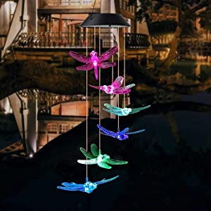 Mosteck Dragonfly Solar Wind Chimes Outdoor, Color-Changing Waterproof LED Mobile Wind Chime Solar Powered Colorful Light for Home Party Yard Garden Decoration