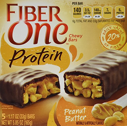 Fiber One, Protein, Chewy Bars, Peanut Butter, 5.8oz Box (Pack of 4)