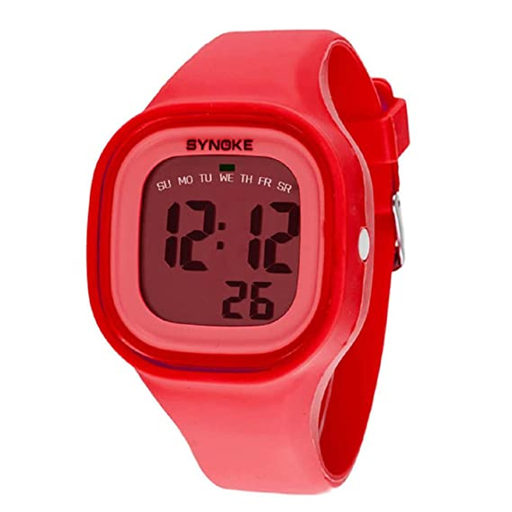 Malloom®2015 moda natación reloj deportivo silicona digital LED impermeable unisexo reloj Rojo: Amazon.es: Relojes