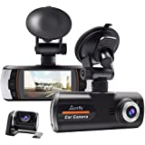 ACCFLY Dual Lens Dash Cam Full HD 1080P Car camera, 2.7 inch 140° Wide Angle DVR Recorder Motion Detection, Loop Recording and G-sensor