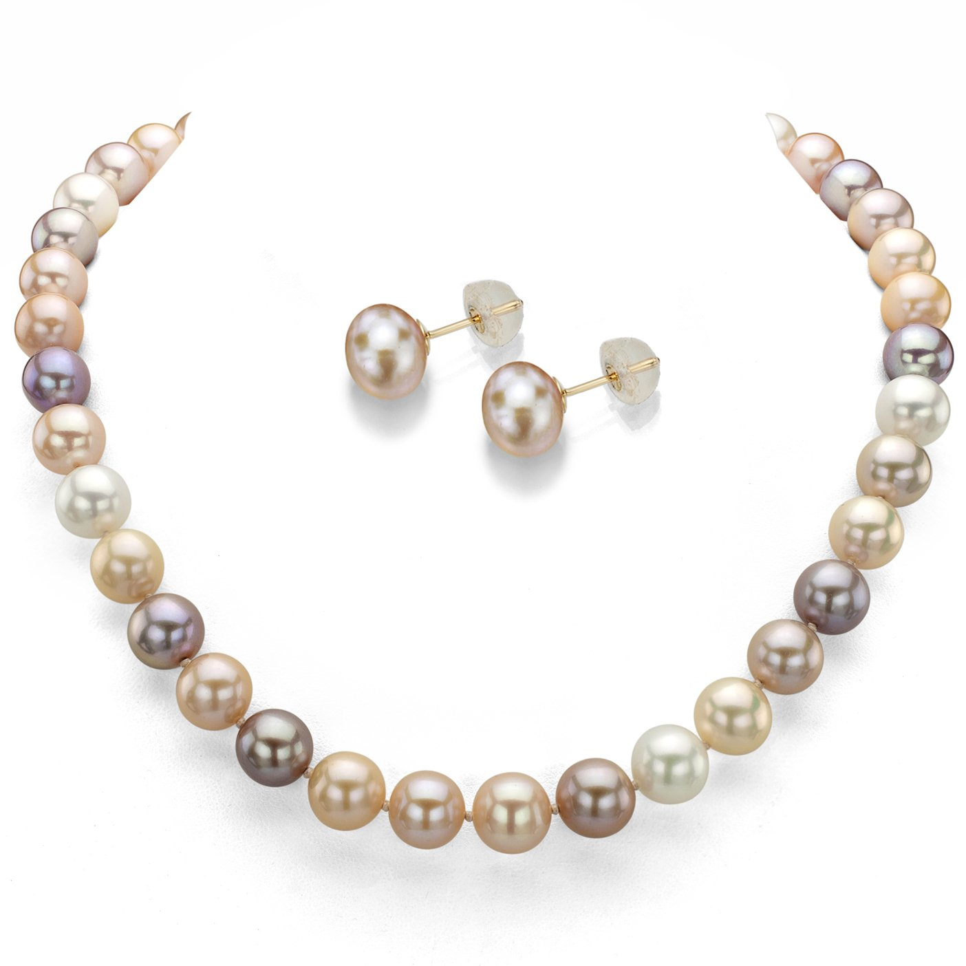 14k Yellow Gold 7-7.5mm Multi-pink Freshwater Cultured Pearl Necklace 18'' and Stud Earrings Set