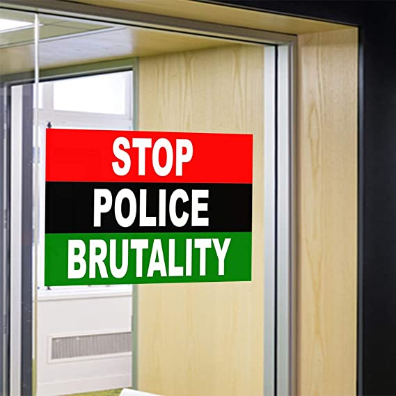 Set of 2 Decal Sticker Multiple Sizes Stop Police Brutality Red Lifestyle Law Enforcement Outdoor Store Sign Red 52inx34in