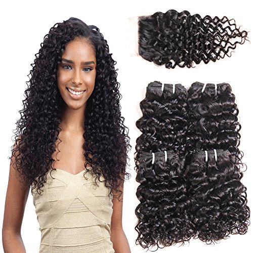 Beauty : 10A Malaysian Curly Hair 3 Bundles with Closure Kinkys Curly Human Hair 100% Unprocessed Virgin Hair with Lace Closure Free Part Unprocessed Can be Dyed and Bleached Natural Color (8 8 8 +8)