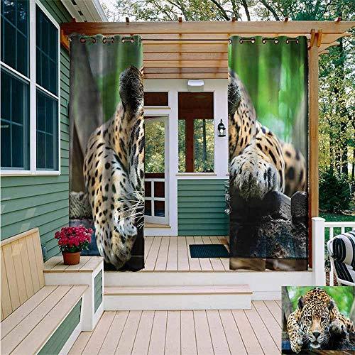 (Beihai1Sun Grommet Curtain,Jungle Jaguar Wildcat Feline,for Porch&Beach&Patio,W72x84L)