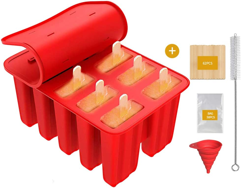 Frozen Popsicle Mold - 10 Cavities Food Grade Silicone Popsicle Molds + 62 Popsicle Sticks + 50 Popsicle Bags + Silicone Funnel + Cleaning Brush - BPA Free (Red)