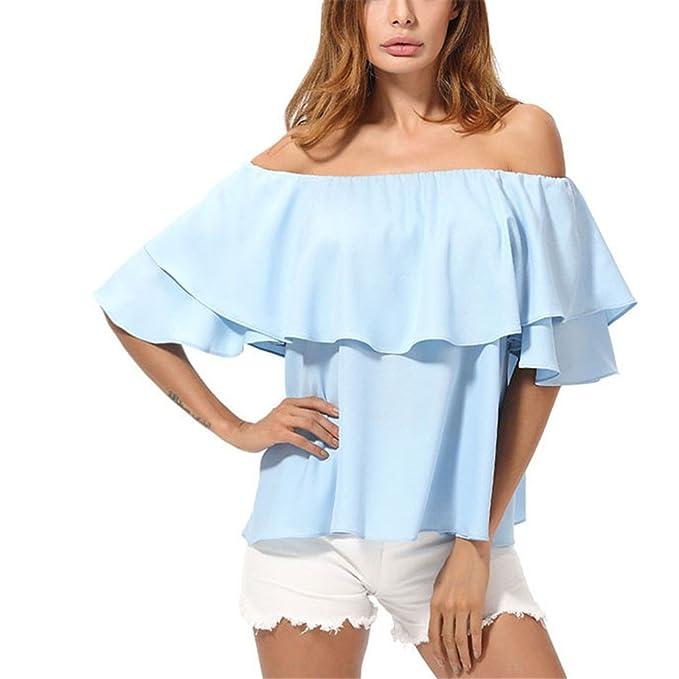 dangyin Elegante Hombro Blusas Mujer Moda Llegada Boho Summer Tops Azul Cielo Gasa Suelta Blusa Volante: Amazon.es: Ropa y accesorios