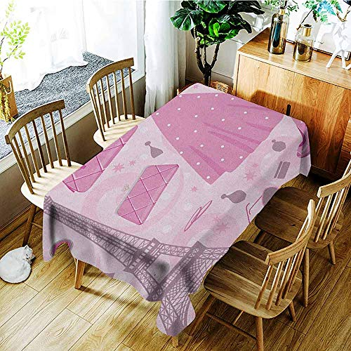 (XXANS Outdoor Tablecloth Rectangular,Heels and Dresses,Paris Fashion Atelier French Boutique Feminine Glamor Eiffel,Table Cover for Kitchen Dinning Tabletop Decoratio,W60X102L Baby Pink Mauve Magenta)