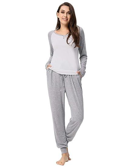 11fa4b645 Zexxxy Women's V-Neck Pajama Set Cotton Loungewear with Elastic Waistline  Pants Grey S