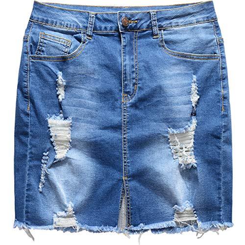 vanberfia Women's Casual Distressed Ripped Denim Short Skirt (JS20196057-1, L)