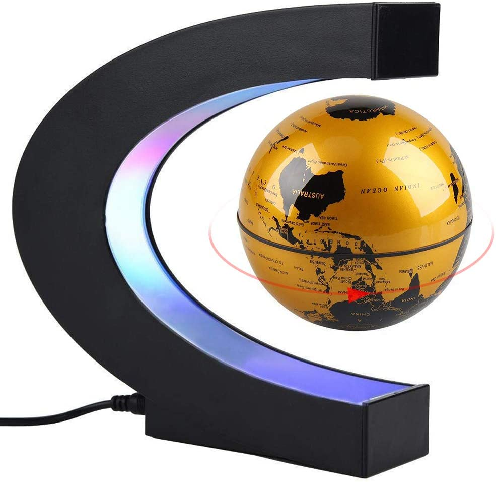 CEStore C Shape Magnetic Levitation Floating World Map Globe Rotating Mysteriously Suspended in Air with LED Lights for Learning/Teaching Demo Home Office Desk Decoration Christmas Gift (Gold)