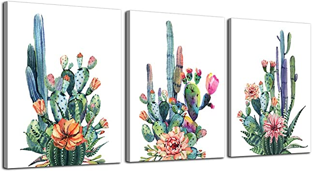 Wall Art For Living Room Canvas Prints Artwork Bathroom Wall Decor Simple Life Green Plants Cactus Picture Watercolor Painting 3 Pieces Framed Bedroom