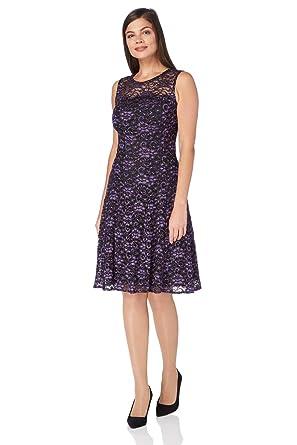 Roman Originals Women s Shimmer Lace Skater Dress - Purple - Size 20 ... 09fcdd8e6