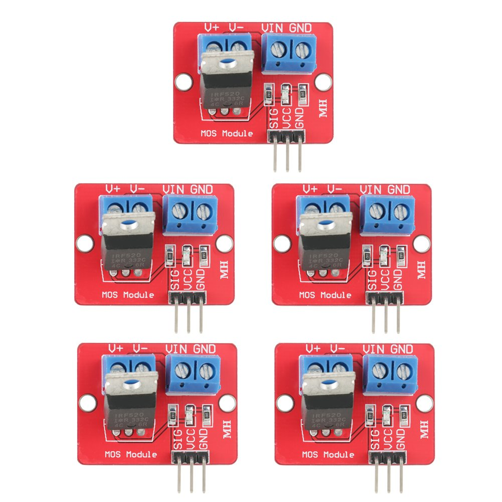5Pcs 3.3V/5V IRF520 MOSFET Driver Modules PWM Driving Control Switch Boards Output 0-24V for Arduino Raspberry Pi Zerone