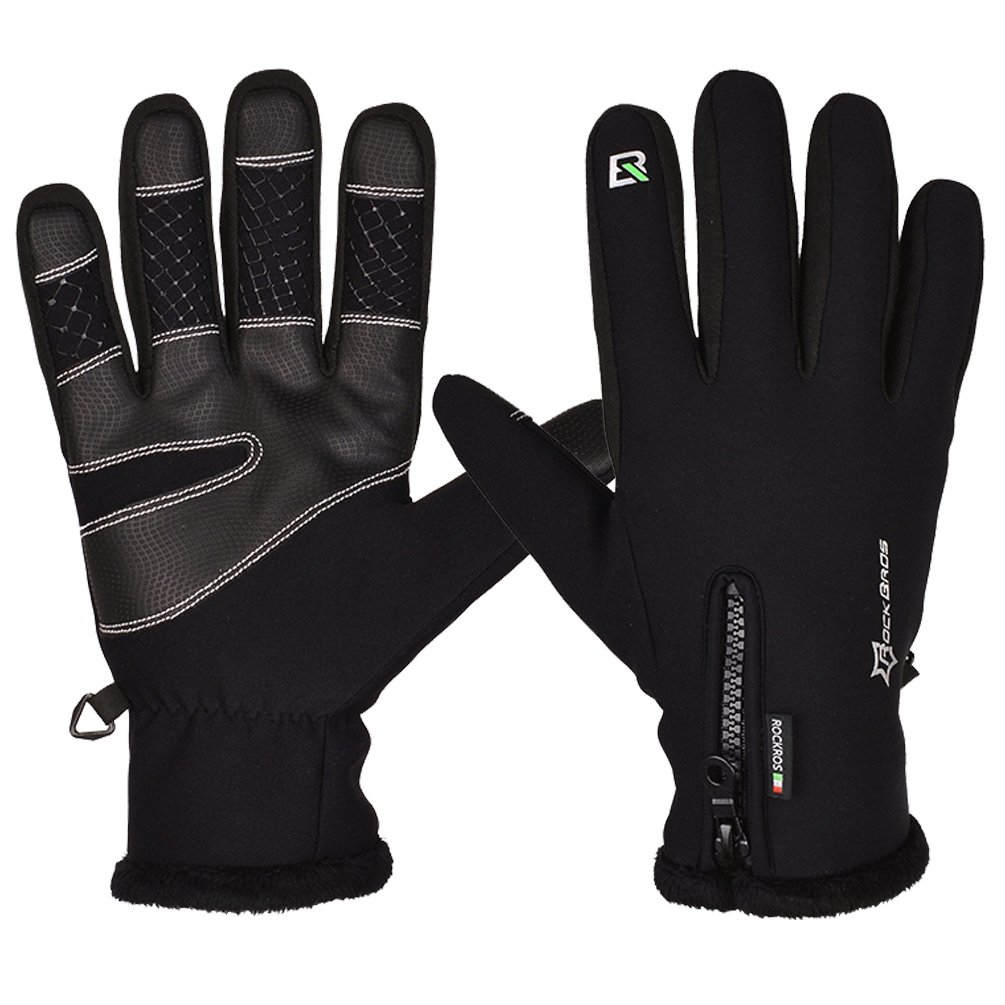 ROCKBROS Winter Cycling Gloves Thermal Warm Fleece Anti-slip Windproof Rainproof Black