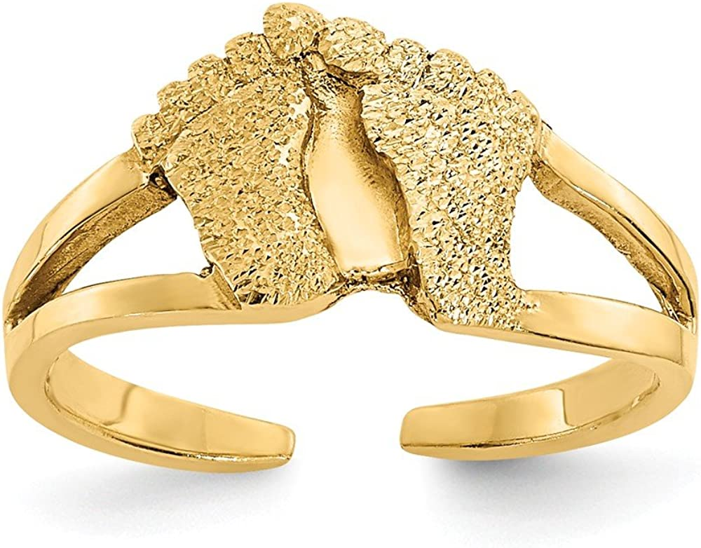 FB Jewels Solid 14K Yellow Gold Diamond-Cut And Sand Blasted Foot Print Toe Ring