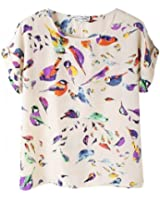 OUKIN Women's Colorful Printed Print Short Sleeve Chiffon Tee Tops T-shirt Blouse