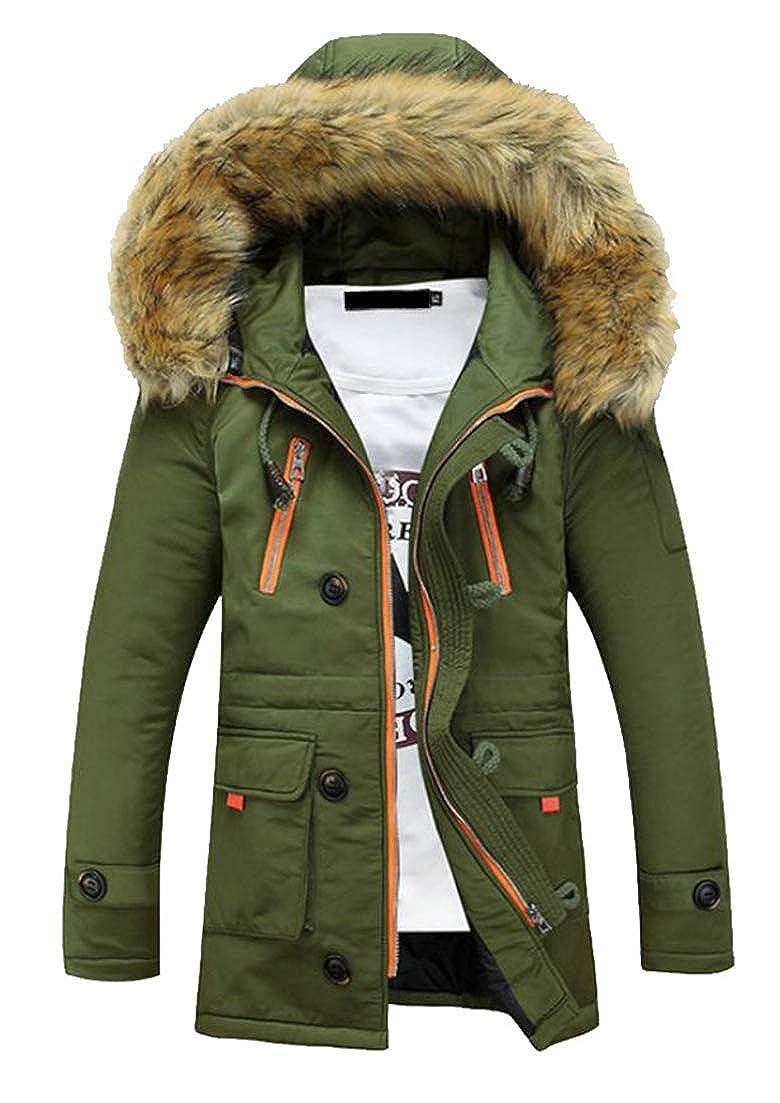 Lutratocro Mens Quilted Multi-Pocket Autumn Winter Faux Fur Parkas Hoodies Mid-Long Outside Down Coat