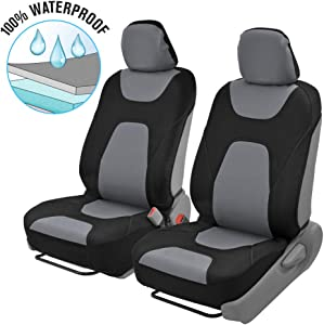 Motor Trend OS274 Gray & Black AquaShield Car Seat Covers, Front – 3 Layer Waterproof Neoprene Material with Modern Sideless Design, Universal Fit for Auto Truck Van SUV