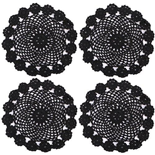 kilofly Crochet Cotton Lace Table Placemats Doilies Pack, 4pc, Black, 7 inch ()