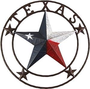 "TreasureGurus, LLC Large 24"" Texas Star State Flag Circle Sign Home/Barn/Pub/Tavern/Bar Wall Decor"