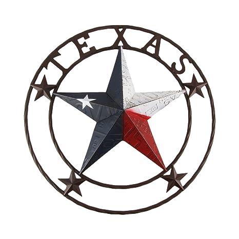 Treasuregurus Llc Large 24 Texas Star State Flag Circle Sign Home Barn Pub Tavern Bar Wall Decor