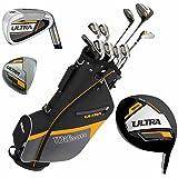 Wilson Ultra Kit de golf complet pour homme et sac trépied - Clubs en graphite - Ensemble complet avec fers, bois, drivers