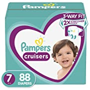 Diapers Size 7 (88 Count) - Pampers Cruisers Disposable Baby Diapers, ONE MONTH SUPPLY