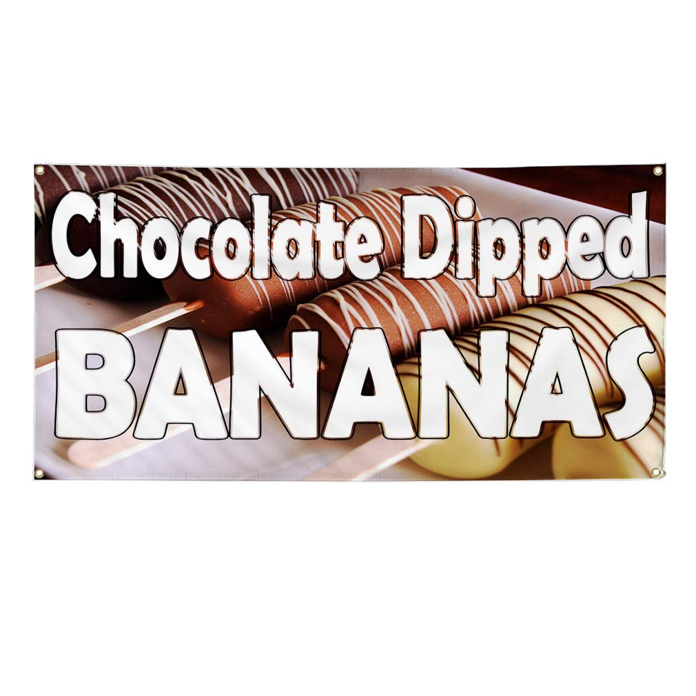 Vinyl Banner Sign Chocolate Dipped Bananas Stick Brown Marketing Advertising Brown 8 Grommets One Banner Multiple Sizes Available 44inx110in