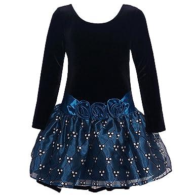 Bonnie Jean Big Girls Black Blue Rosette Drop Waist Christmas ...