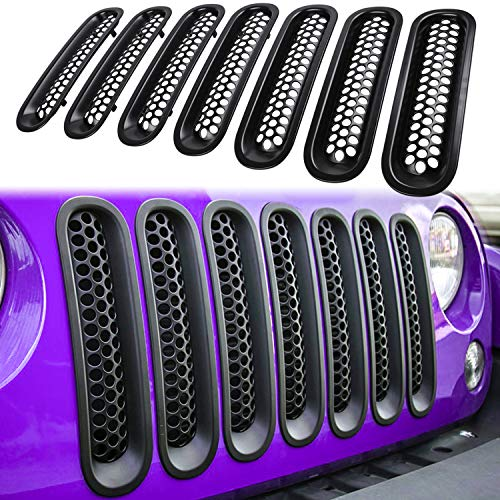 Routen Upgrade Version Clip-on Honeycomb Front Grille Inserts Replacement for Jeep Wrangler JK JKU Rubicon Sahara Sport 2007-2015 Front Mesh Grille Inserts Black