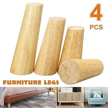 4 unids/lote patas de sofá de ángulo oblicuo de madera maciza ...